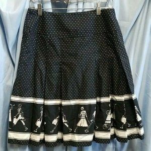 Liz Claiborne Size 10 Skirt Walking Lady Ladies Black Circle Polka Dot Pleated